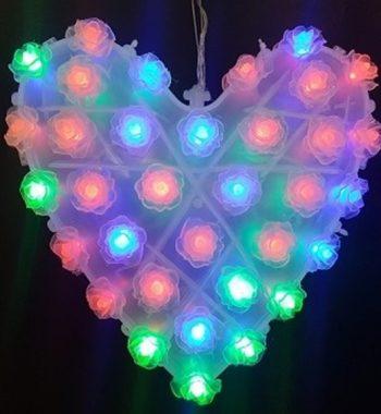 קישוט לד בצורת לב גדול מחליף צבעים